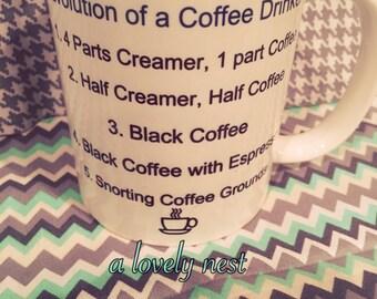 coffee lover mug evolution of a coffee drinker mug funny coffee mug