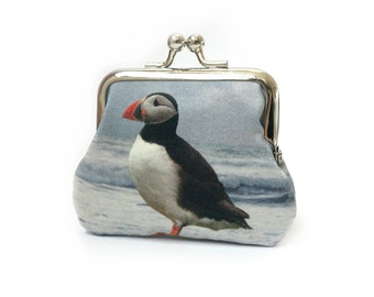 Mini purse, coin pouch, printed silk, gift for her, PUFFIN