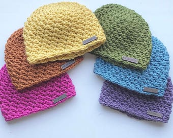 Crochet Beanie with Tag | MUSTARD Frankie Hat 3-9m