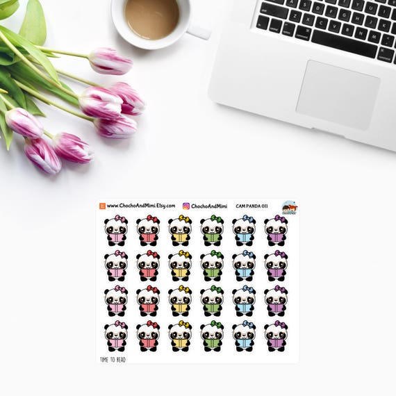 Amanda The Panda Time To Read Planner Stickers Cam