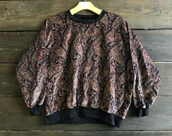 Vintage 80s Velvet Paisley Print Sweater