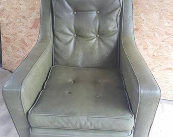 Green faux leather mid century modern club chair arm chair
