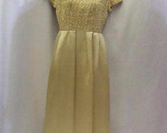 Vintage 1960's Mid Length- Champagne - Satin - Wedding Dress - Bridesmaid