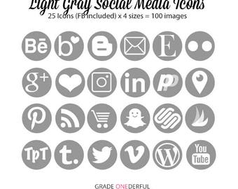 Light Grey Social Media Icons, 25 Gray Social Buttons, 4 Sizes, Pinterest, Tailwind, Wordpress, Snapchat, Blogger, Commercial Use