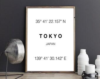 Tokyo Print, Tokyo Coordinates, Art Print,  Japan print, Tokyo, Typographie, Wall Decor, Wall art, Poster, Printable Art, Digital Download