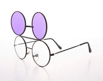 8b775c85383 Dwayne Wayne 80s Vintage Round Flip Up Glasses with Tinted Lens - Dwayne