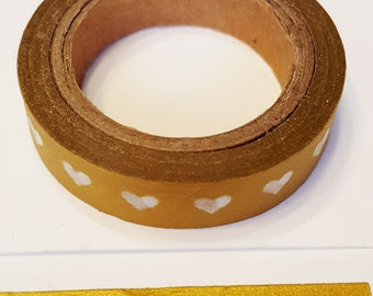 Metallic Gold with White Vellum Mini Hearts in a Row Designer Washi Tape