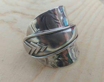 Sterling Silver - Upcycled jewellery - Spoonring ring - Size U 1/2 (UK)