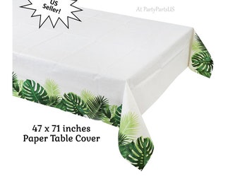 palm leaf table cover, paper tropical tablecloth, luau party decorations, palm leaves, green tree branches, summer island wedding, Hawaiian