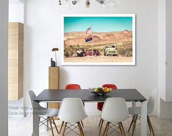 Route 66 decor Garage decor American flag american classic car on California route 66 arizona photography/large art/kids room art/men office