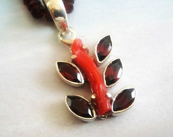 Red Coral Pendant, Garnet Marquis 925 Sterling Silver Prong Set and Bail, Overall 37x17mm,  Bail is 13x10mm. (ID 11x7mm) GC04