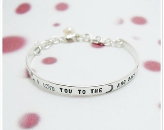I love you to the moon and back Bracelet - Toddler/Young Child Personalized Sterling Silver Bangle