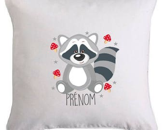 LITTLE RACCOON RACCOON pillow personalized with text of your choice
