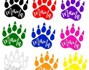 Mama Bear Paw Print Window Decal