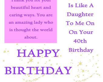 Like a Daughter 40 Birthday Card with removable laminate