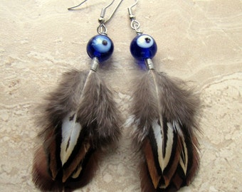 Beaded Evil Eye Feather Earrings - Brown Earthy Pheasant Feathers, Feather Jewelry - Watchers