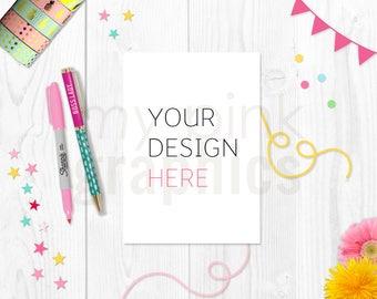 A4 5X7 Card Mockup, A4 Print Mockup, Birthday Card, Invitation Mockup, Wood, Card Mockup, A4 Mockup, Styled Stock Photo, Party - MPG80