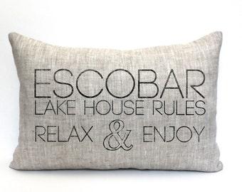 "lake house pillow, beach house pillow, cabin pillow, family name pillow, mother's day gift ""The Escobar"""