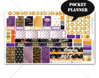 Gold Halloween Planner Stickers MONTHLY Planner Kit, Pocket Planner Stickers, Sew Much Crafting, Monthly Sticker Kit #SQ00576-Pocket
