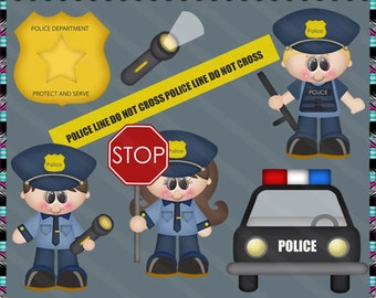 Future Police Officer - Instant Download - Commercial Use Digital Clipart Elements Set