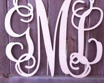 Wooden Monogram - Unfinished Wood Monogram - Wood Letters - Monogram Home Decor - Monogram Wall Hanging - Monogram Door Hanger
