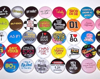 """Everything 80's Buttons 80s Pins Party Favor Set of 40 Buttons 1"""" or 1.5"""" Pin Backs or 1"""" Magnets 1980's Theme Party 80's Party Decorations"""