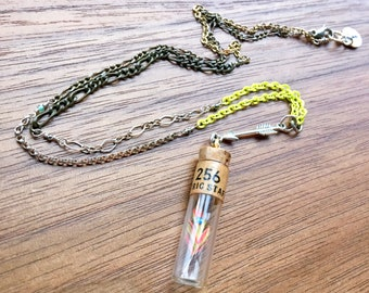 Hand Painted Feather Specimen Necklace No. 256