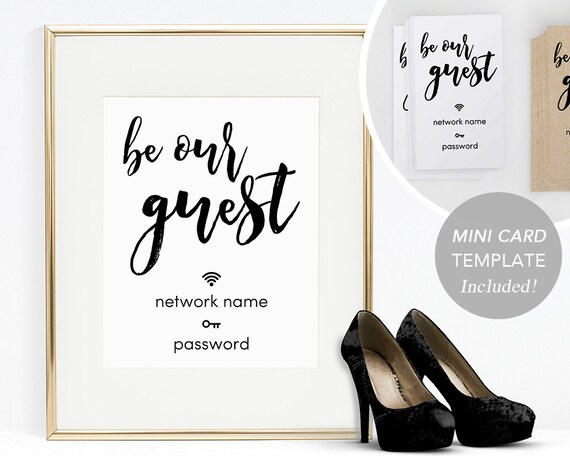 wifi password sign printable wifi sign template home wifi. Black Bedroom Furniture Sets. Home Design Ideas