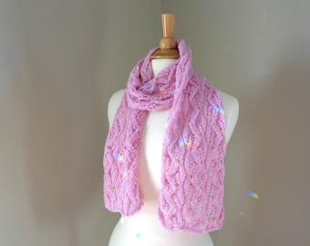 Pale Pink Lacy Knit Scarf, Baby Alpaca, Scarf for Women, Hand Knit Leaf Texture, Super Soft and Warm, Long Lightweight Scarf, Fashion Scarf