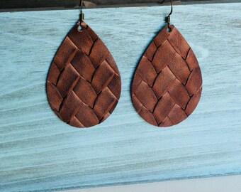 Basket weave leather teardrop earrings