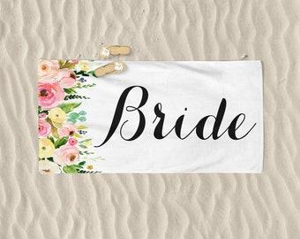 Bride Beach Towel  Personalize Towel Honeymoon Beach Towel Honeymoon Towel Wedding Beach Towel Custom Personalize Name Towel Bride Gift