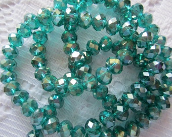 25  Emerald Green AB Rondelle Crystal Faceted Beads  6mm x 4mm