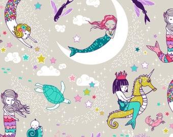 Mermaids Cotton Fabric by the Yard Girl Fabric Ocean Fantasy Fabric Nursery Fabric Girl Organic Cotton Knit Minky Jersey Fabric