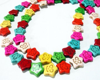"""Smiley Beads - Smiley Face Beads - Multi Colored Smiling Face - Star Shaped Gemstone Howlite Beads - 16"""" Strand - DIY Summer Jewelry making"""