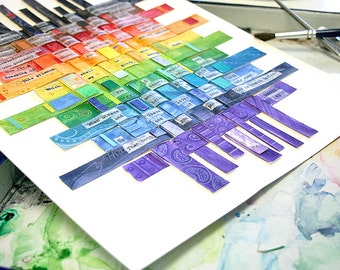 Shakespeare Sonnet 83- Rainbow Colors- Paper Weaving- Paper Art- 11x14- Watercolor- Mixed Media- Charity Donation- Vertical
