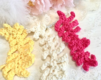 3 Crochet Shabby Vines, Crochet Ferns, Leaves, Pastel, Crochet Appliqués, Decorations, ScrapBooks, Embellishment, Crochet Appliqués