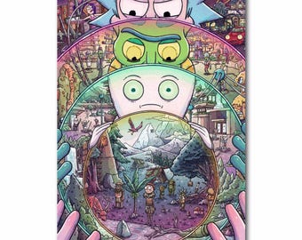 High Quality Rick and Morty Cartoon custom sizes are available Home Decoration Silk Christmas gift 22.1x 28.7inch silk poster
