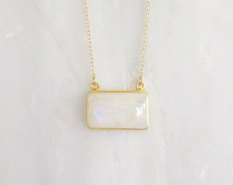 Moonstone Bar Necklace - Bar Necklace - Gold Necklace - Gemstone Necklace - Pendant NEcklace