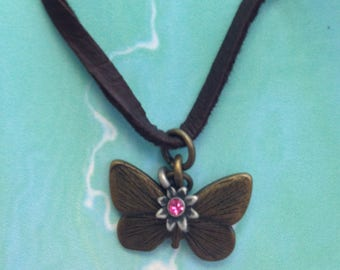 Bronze Butterfly Necklace, Charm Necklace, Simply Cute Collection, Faux Leather Necklace