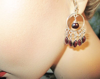 Garnet Earrings, Silver Teardrop earrings, Dangle Earrings, January Birthstone