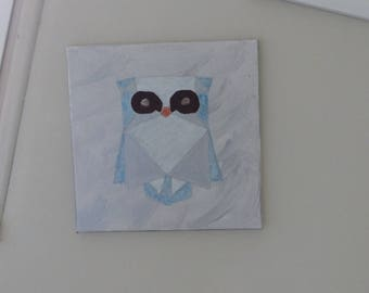 Blue OWL painted on canvas