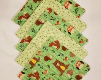 Cotton Flannel Washcloths 5 pack, double layered, 8 x 8 in.