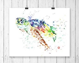 SEA TURTLE PAINTING, Sea turtle art, gifts under 20, wildlife art, sea turtle watercolor, nursery art, nursery decor, sea life