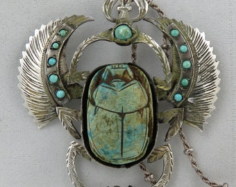 Estate Egyptian Revival 20's Sterling Persian Turquoise Winged Scarab Pendant Necklace.