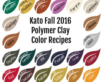 Kato Polyclay Polymer Clay Color Mixing Recipe Ebook for Fall Winter 2016