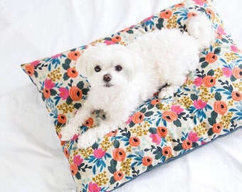 Rosa Floral Natural Rifle Paper Co. dog bed cover // Floral pet bed cover // Girl dog bed duvet // Designer cover for small to large dogs