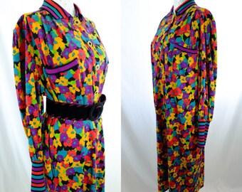 Tibi Vintage Designer Dress/ Maxi Dress/ Retro Dress/ spring/ guest/ shower/ bold print/ flower print/ 80s/ floral dress/ designer vintage