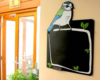 Bird Chalkboard. Featuring a blue tit sitting on top of a memo board. A fun animal chalkboard.