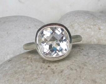 White Topaz Engagement Ring- Alternative Diamond Engagement Ring- Simple Engagement Ring Colorless Bridal Wedding Ring April Birthstone Ring
