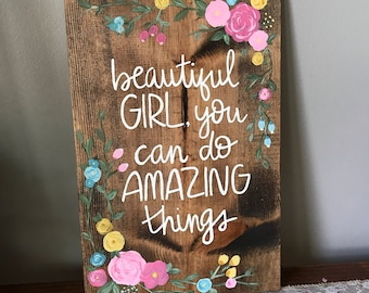 Beautiful Girl You Can Do Amazing Things Custom Color Canvas